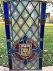 18 19th CENTURY STAINED GLASS CHURCH WINDOW CHALICE GOTHIC 425 X 225