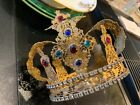 Antique 19th Century French Gilt Filigree Crown Statue w Cross Colorful Jewels