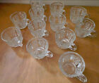 VINTAGE CRYSTAL CUT GLASS PUNCH BOWL CUPS 12 PERFECT  BEAUTIFUL HOLD 3 OZ