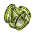 ABSTRACT ART DECOR BLOWN GLASS TWISTED ROPE KNOT PAPERWEIGHT 5 INCHES GREEN