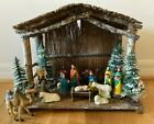 13 piece vtg ceramic nativity set figurine hand painted stable creche Christmas