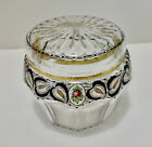Antique Bohemian Glass Box Jar Enameled Cut Crystal