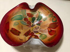 Vintage Red Gold Foil Italian Murano Glass Bowl Dish Colorful