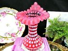 FENTON Cranberry Opalescent coin dot Jack in the Pulpit JIP vase ruffled rim