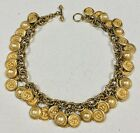FABULOUS 1980S VINTAGE MISH NEW YORK LION COIN  PEARL NECKLACE