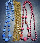 JOB LOT OF VINTAGE ART DECO COSTUME JEWELLERY GLASS BEAD NECKLACES
