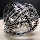 Hand Blown Art Glass Twisted Rope Knot Paperweight Black  Clear