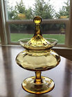 Vintage 60s Empoli Hand Blown Italian Amber Glass Candy Dish Jar Footed w Lid