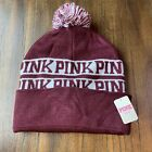 Womens Beanie Winter Ski Cap Victorias Secret PINK Maroon White Big Pom Pom