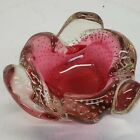 Pink Controlled Bubble Art Glass Candy Dish Ash Tray