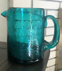 Teal Crackle Glass Art Mini Pitcher Vase