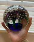 Magnum Flower And Controlled Bubble Glass Paperweight Beautiful Multi Colored
