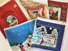 5 Cloth Book Panels Christmas Fabric Santa Nativity Snowman Angel Cranston Vtg