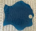 Annieglass Blue Fish Plate Excellent Vintage Ruffled Platter 12