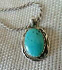 Natural Turquoise Pendant Necklace Sterling Herbert Tsosie Native American