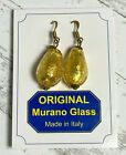 Murano Glass Earrings Made in Italy Gold Filled Foil Encased Pear Drop NEW