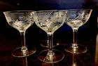 4 Sherbet champagne dessert Glass Crystal Etched Cut Stemware Toasting Barware