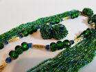 Vintage ALICE CAVINESS Blue Green Art Glass Crystal Seed Bead NECKLACE EARRINGS