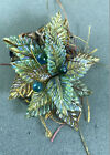 Handmade Glass Brooch 2 x 3 leaves and berries glass + lace + thread