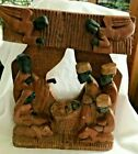 ONE PIECE HAND CARVED WOODED NATIVITY SCENE AFRICA KINGS ANGELS MARY JOSEPH BABE