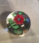Sherwin Art Glass Paperweight Poinsettia Signed Dated 2012 3 1 2