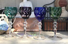 4 Bohemian Multi Color Hock Cut to Clear Crystal Wine Glasses 775 inches tall