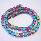 1960s SATIN FROSTED Glass STUNNING Multi Color Rhinestone Necklace