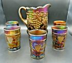 STUNNING NORTHWOOD 6 PIECE GRAPE AND CABLE AMETHYST CARNIVAL GLASS WATER SET