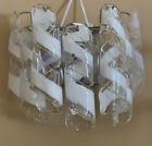 PAIR VINTAGE MURANO Spiral Ribbon Tube Wall Sconces Chrome Art Glass