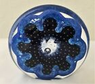 Nourot Art Glass Studio Blue Disk Paperweight Signed Dated