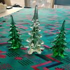 MURANO STYLE ART GLASS 8  65 CHRISTMAS TREES LOT GREEN CLEAR COLOR