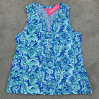NWT Lilly Pulitzer Essie Top Sea Glass Aqua Seeing Double Size XL Free Shipping