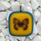 Fused Art Glass Jewelry Necklace Pendant Butterfly Blue Yellow Orange Handmade