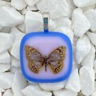 Fused Art Glass Jewelry Necklace Pendant Butterfly Blue Light Pink Handmade