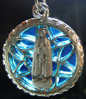 Vintage VIRGIN MARY BLUE Medal STAINED GLASS WINDOW LOOK Religious Holy Pendant
