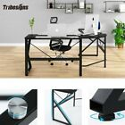 Tribesigns L Shaped Glass Desk for Home Office  Corner Use Writing Study Table