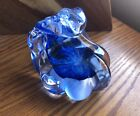 Vintage ANCHOR BEND Art Glass BLUE WAVE Sculpture Paperweight Signed Wavy Ocean