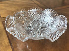 Vintage Cut Glass Fruit Bowl Flower Petals Star Design W Scalloped Rim 9 Wide