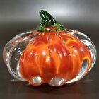 Art Glass Pumpkin Paperweight Sommerso Orange  Clear HEAVY Crystal EUC