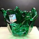 New Murano White Crystal Art Glass Hunter Green Bowl Hand Blown Italy 8tall10w