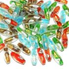 GX9930 Assorted Gold  Silver Foil 24mm Oval Handmade Lampwork Glass Beads 100pc