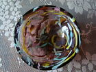 VTG Murano AVEM Glass Bowl Zanfirico Latticino Twisted Ribbon Gold Fleck Round