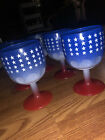 Vintage Red White Blue Stars Footed Glass Goblet Lot Of 6