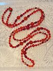 VTG Art Deco W Germany Red poured Glass Necklace Extra Long beaded