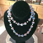 Vintage Millfiore Necklace Venetian Style Square Glass Beads Murano Italy