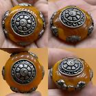 Beautiful unique Tibetan Amber vintage Silver lovely bead