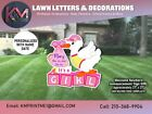 Its A Girl Birth Announcement Yard Sign Yard Card Metal Stakes Included