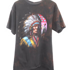 W165 Vintage 3D Emblem Native American Tee Shirt Made In USA Single Stitch Large