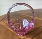 Vintage Fenton Marked 6 3 4 Cranberry Pink Glass Basket