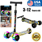 3 Wheel Adjustable LED Kick Scooter Deluxe Height T bar Glider For Toddler Kids